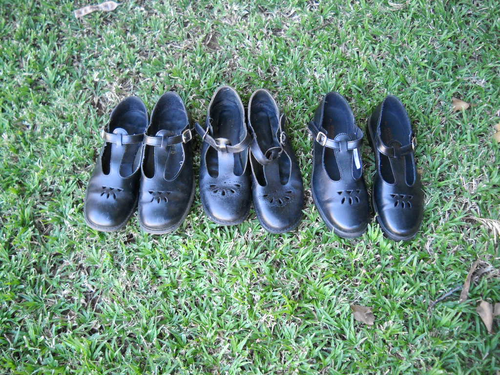 3 Pairs size 7 girl's school shoes