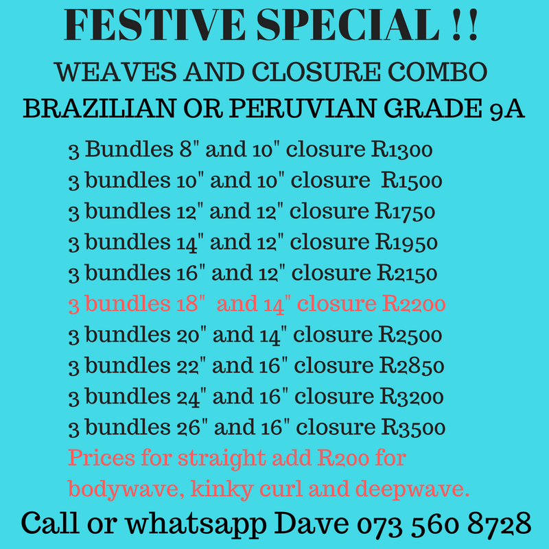Real 100% original Brazilian and Peruvian weaves,closures and lace wigs Grade 9A BEST PRICES