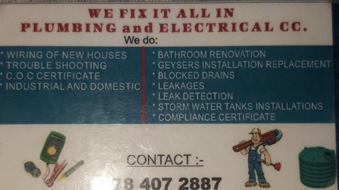 Plumbing and Electrician Services in Johannesburg