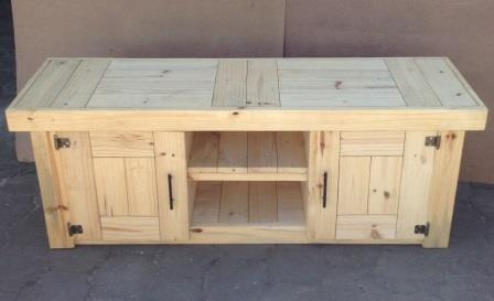 TV display unit Farmhouse series 1600 with doors Raw