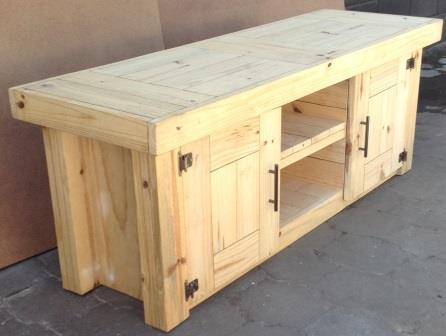 TV display unit Farmhouse series 1600 with doors Raw