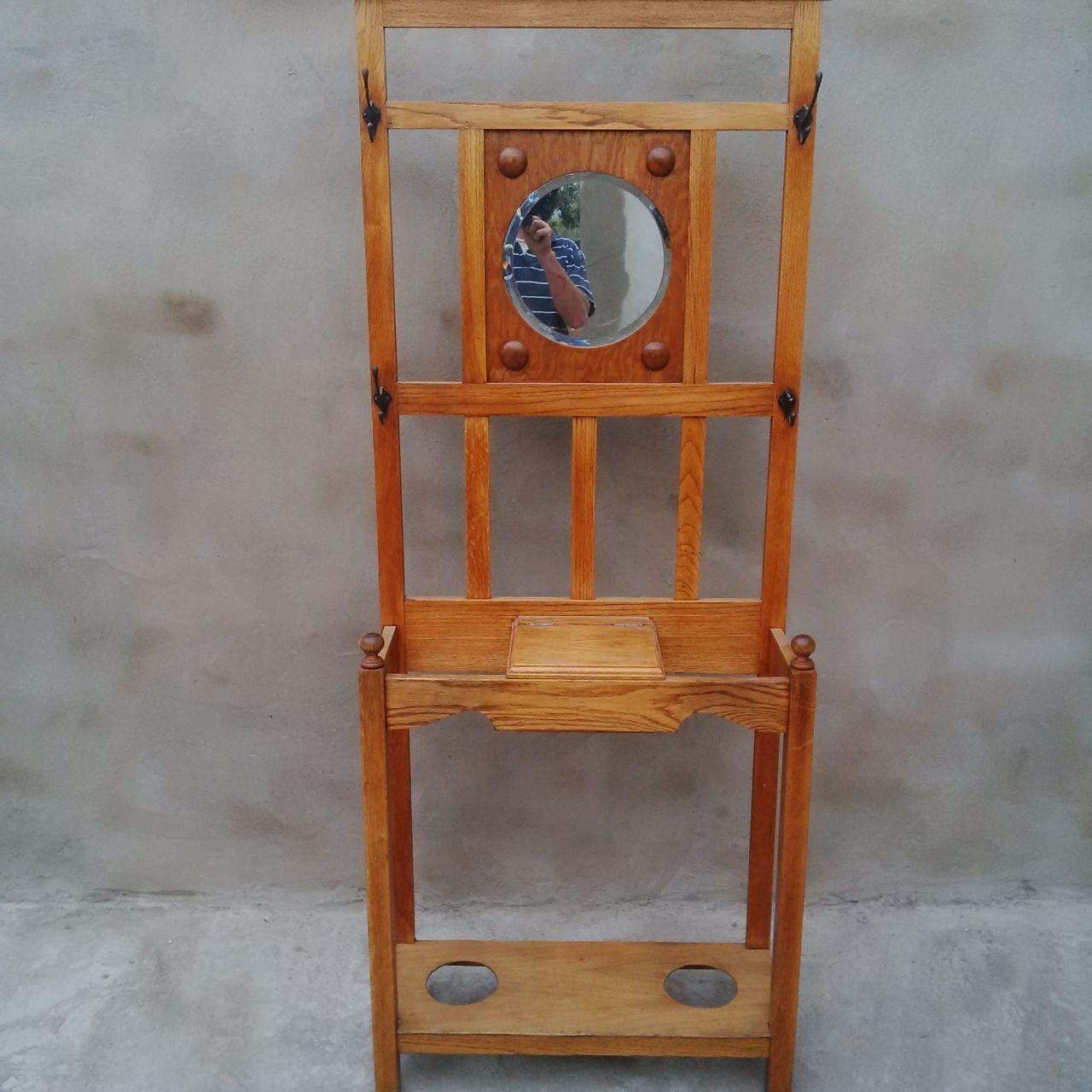 Oak Hall Stand With Round Mirror Vintage Junk Mail