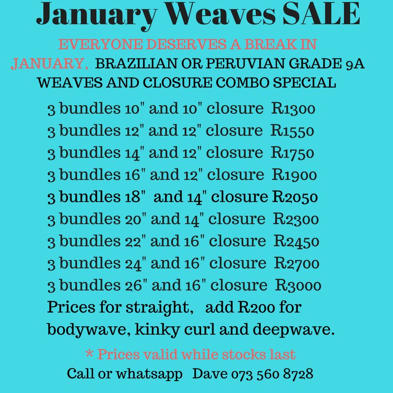 High quality weaves,closures and lace wigs Brazilian and Peruvian grade 9A