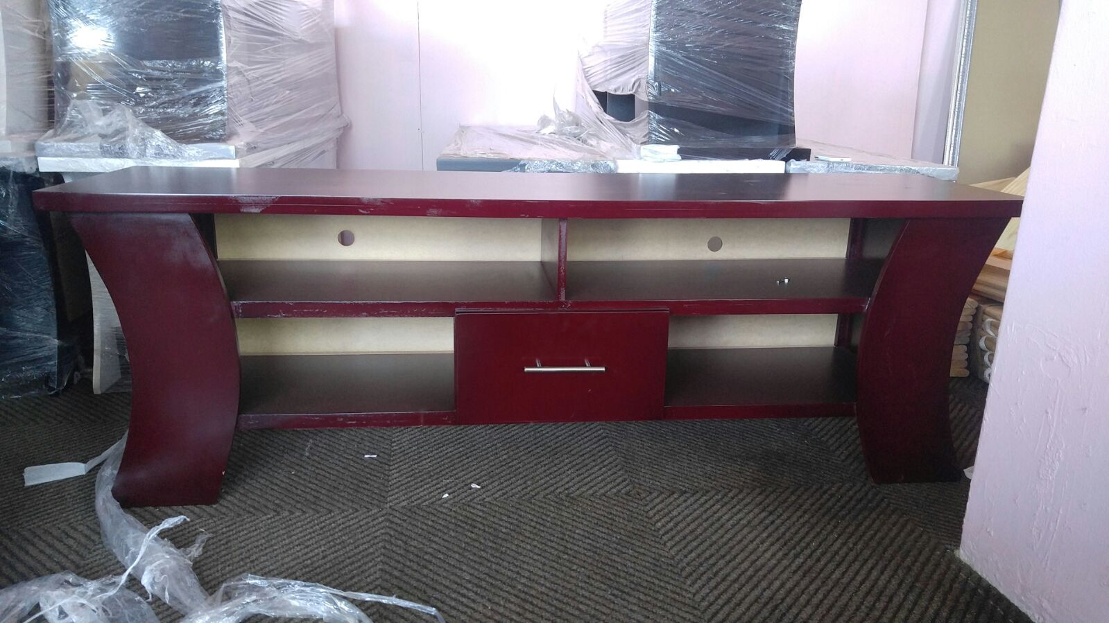 New red mahogany curved TV plasma stand