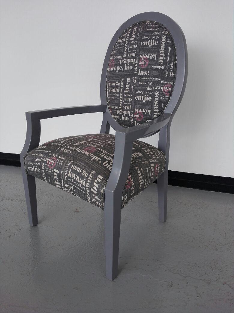 Stunning printed fabric chair back