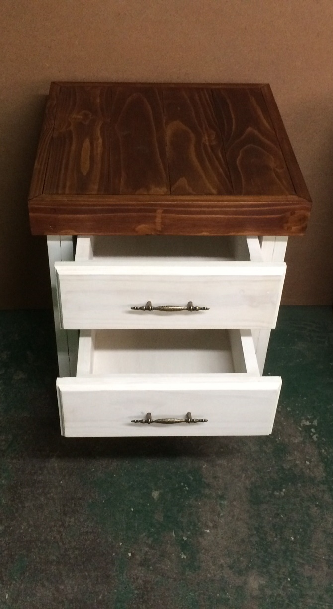 Night stand Farmhouse series 515 with 2 drawers extra height Two tone