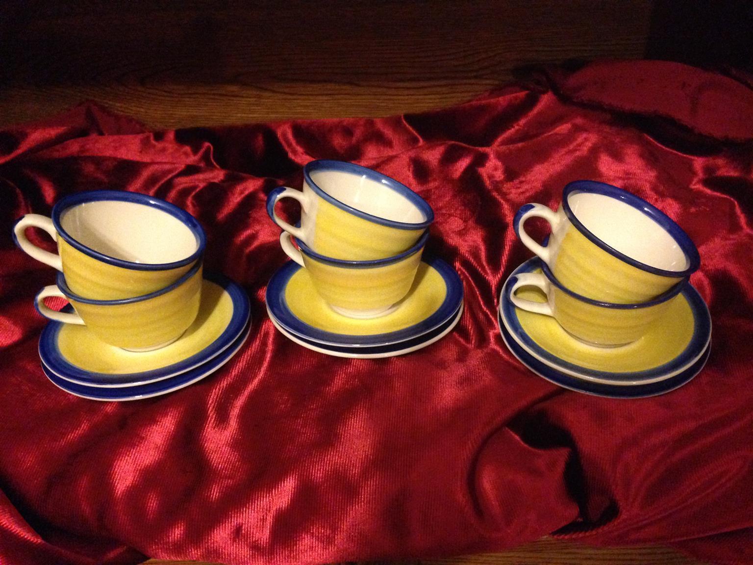 Beautiful Blue Tea Set + 6 Petite Yellow Cups and Saucers