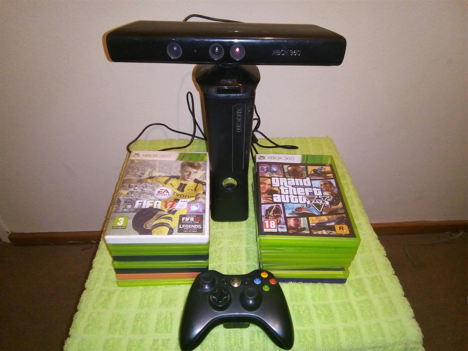 Xbox360 500gig + kinect + one controller and 16 games