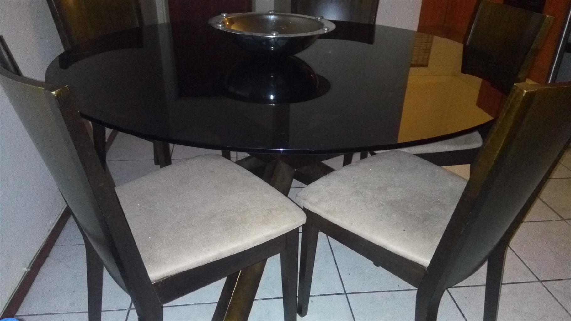 7 PC glass round table dining