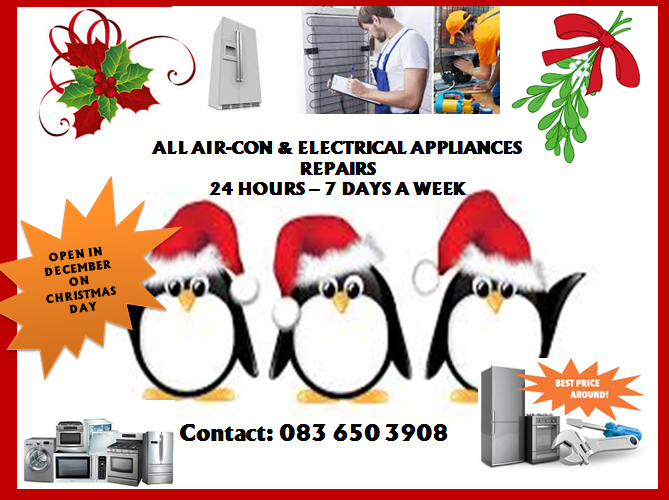 AIR-CON & ALL ELECTRICAL APPLIANCES REPAIRS 24 HOURS – 7 DAYS A WEEK