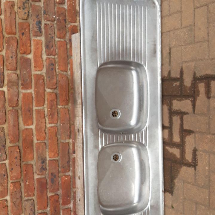 Large double basin zinc for a kitchen