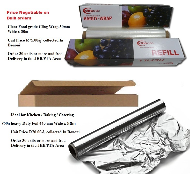 750g Heavy Duty Aliminium Foil Brand New (Plain Boxed) & Food Grade Cling Wrap