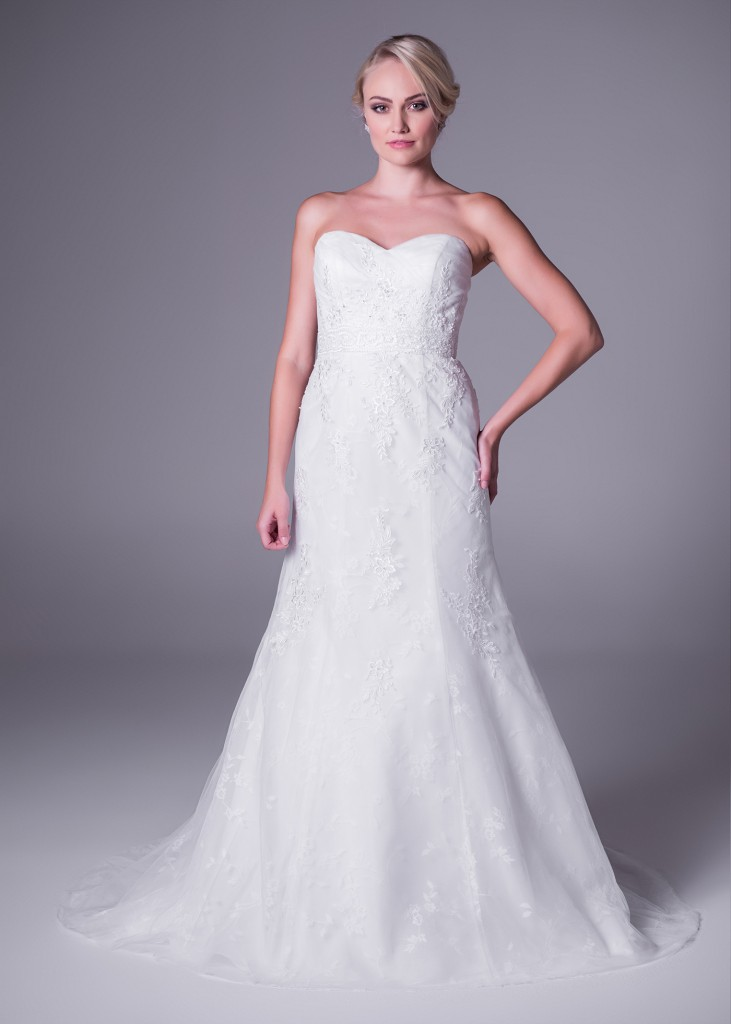 Beautiful off-white lace wedding dress