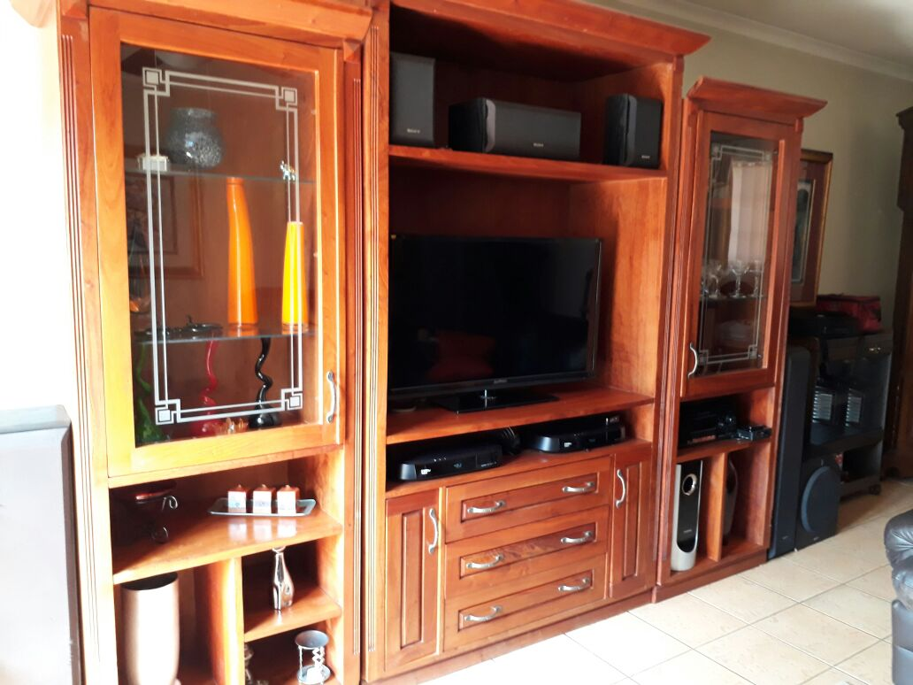 Solid Rosewood 3 Piece Wall Unit For Sale