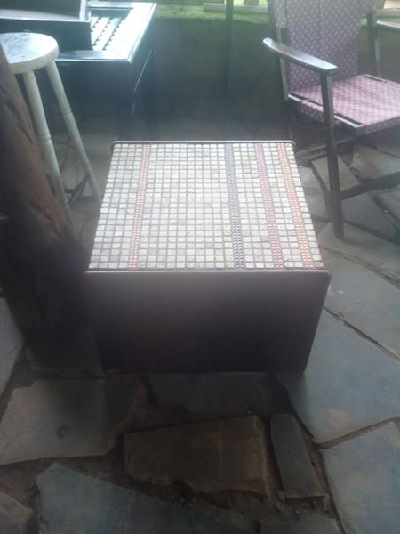 Mosaic top mini coffee table