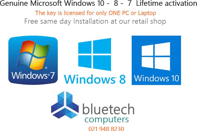 Genuine Microsoft Windows 10,  8,  7,  Lifetime activation - Free Installation same day