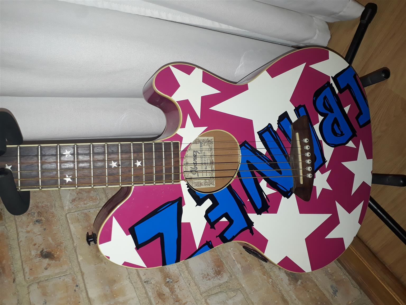 Ibanez Talman TCY20062 Pink/Blue Acoustic/Electric Guitar with built in pick up + Guitar Bag