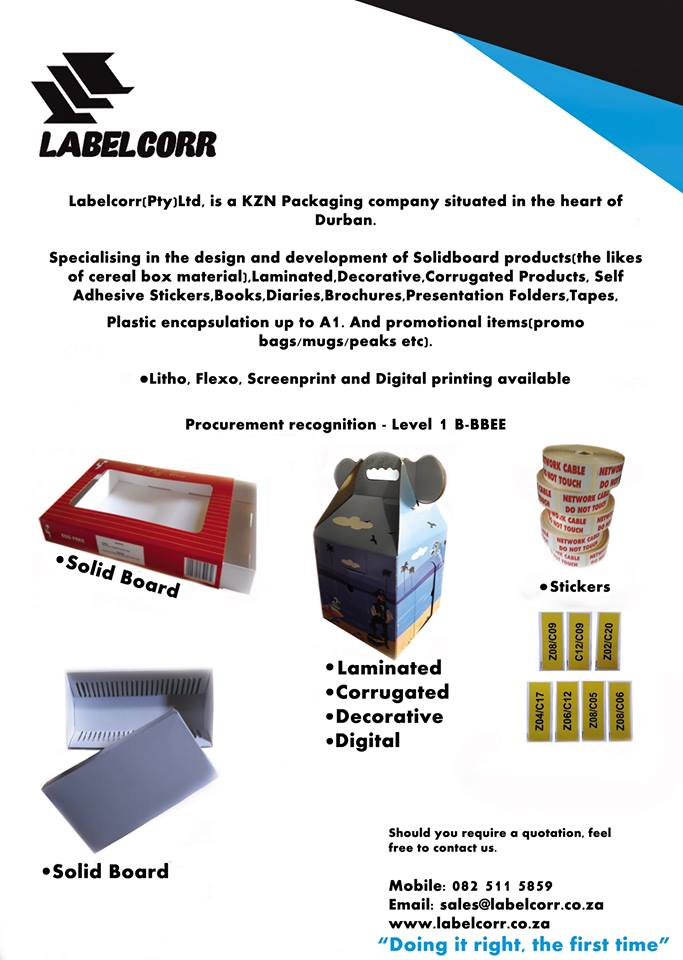 Self adhesive stickers labels corrugated packaging printing in durban