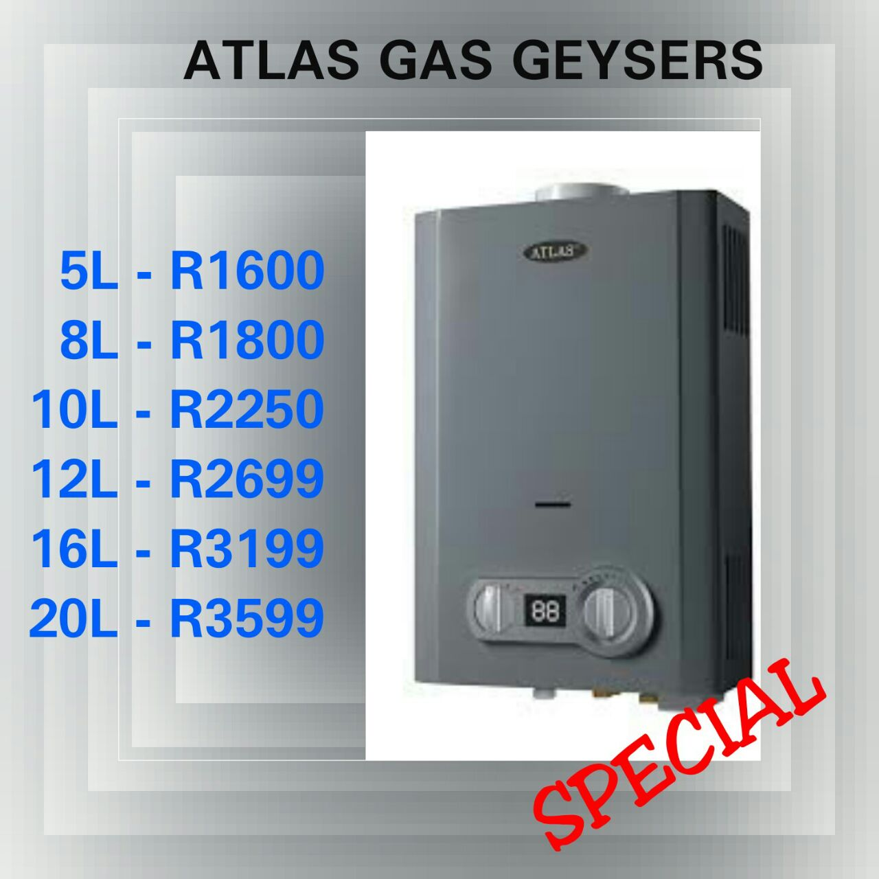 GAS GEYSERS OR WATER HEATERS NEW !