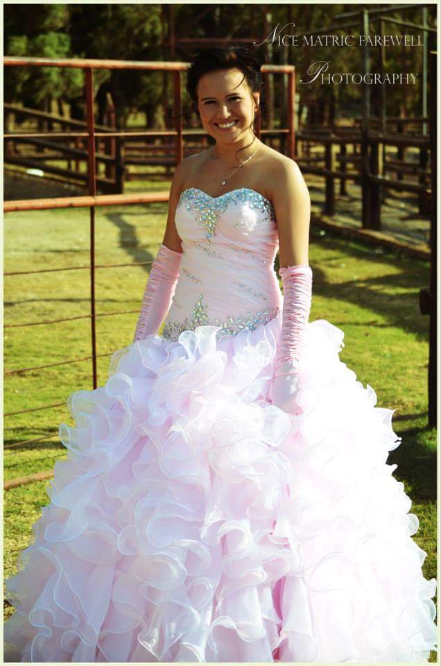 White & Pink Ball Gown
