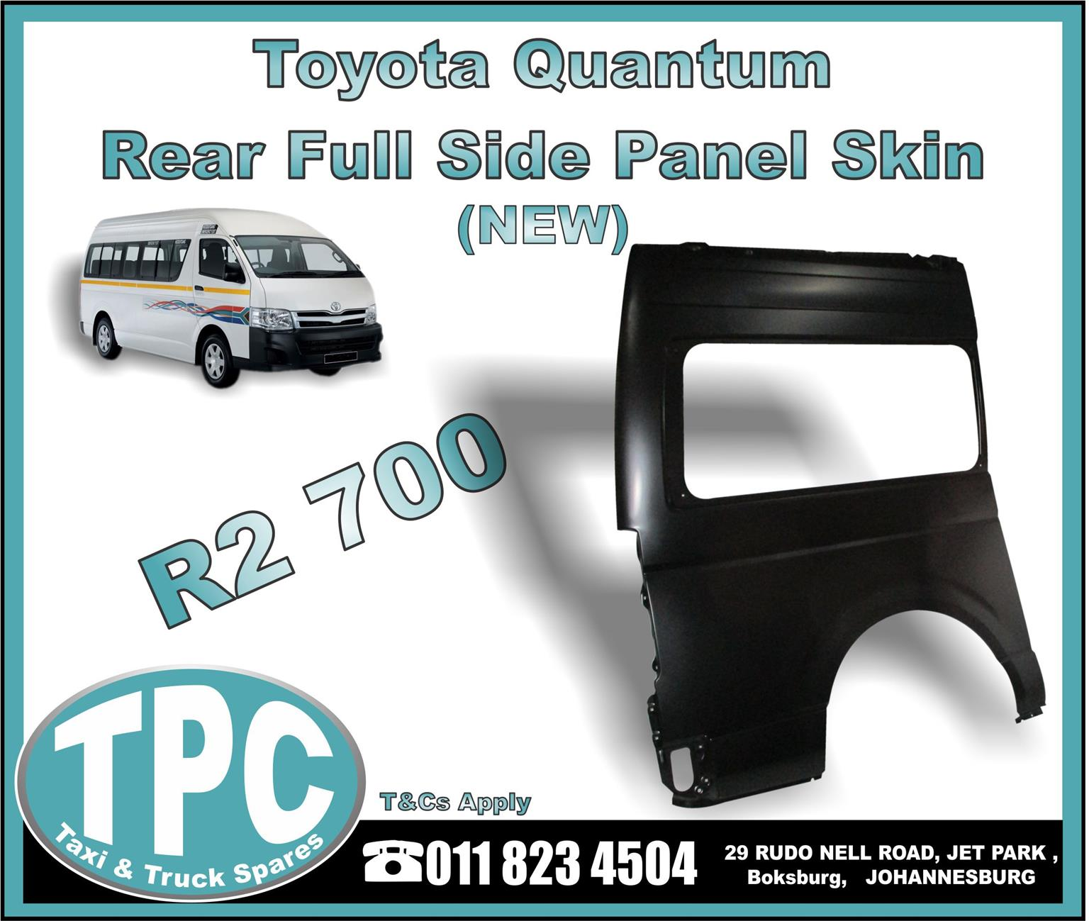 Toyota Quantum Rear Full Side Panel Skin - New And Used Quality Replacement Taxi Spare Parts - TPC