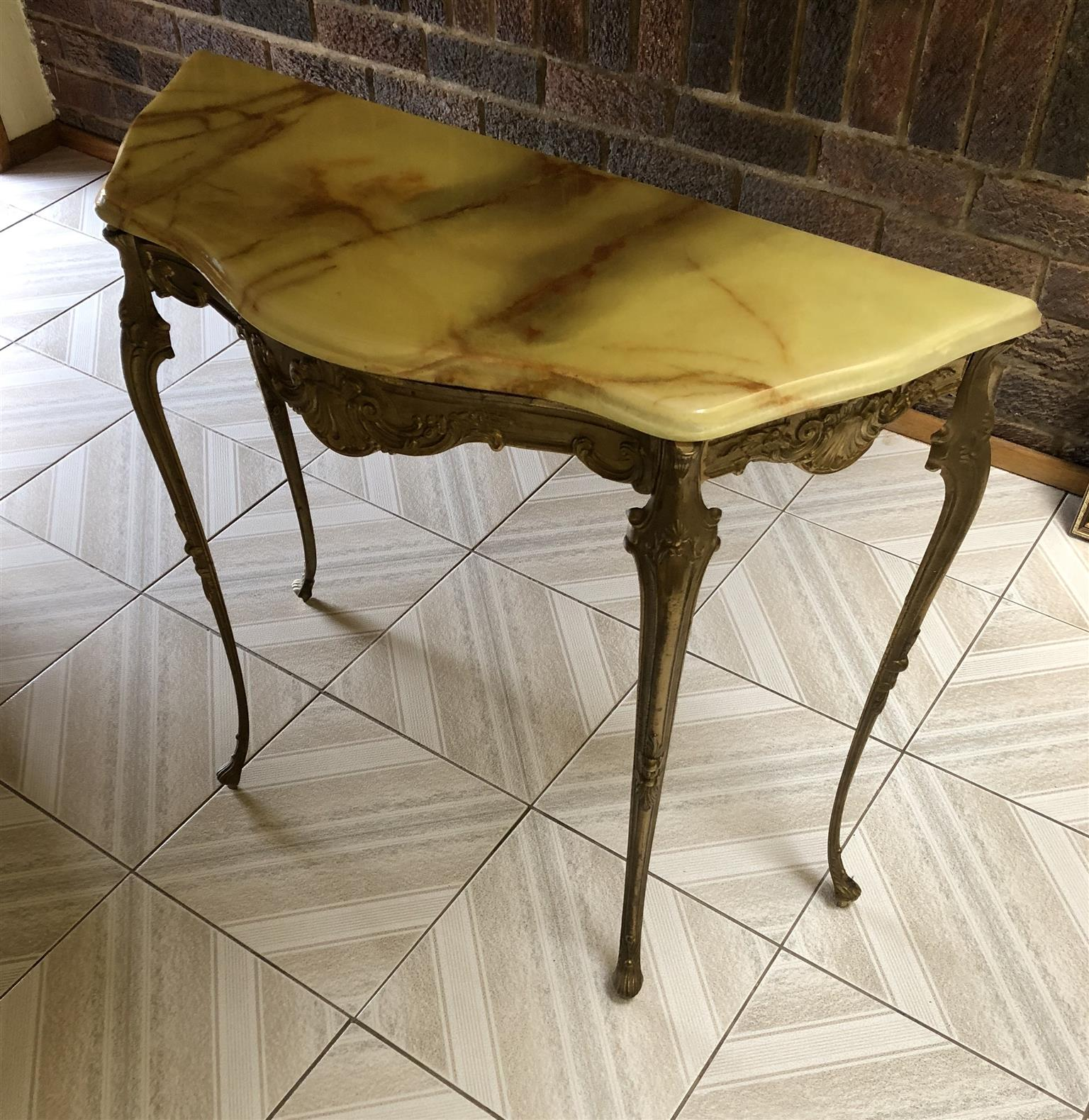 Antique Marble top table and wall mirror