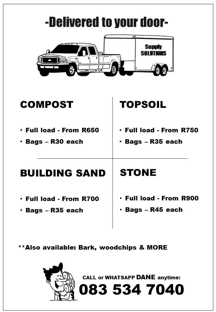 COMPOST, TOPSOIL, BUILDING SAND, STONE