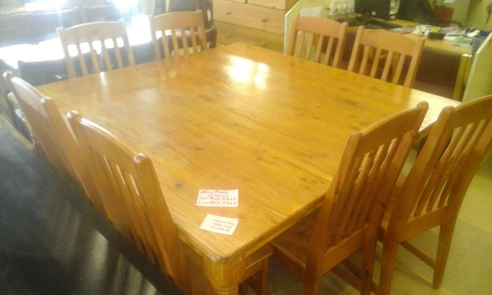 8 Seater wooden dining set with large table