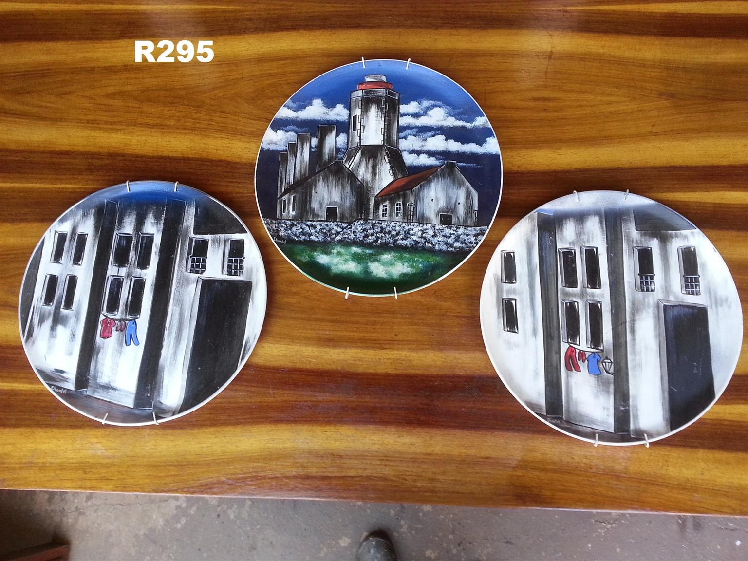 3 x Hand Painted Wall Plates (375mm)