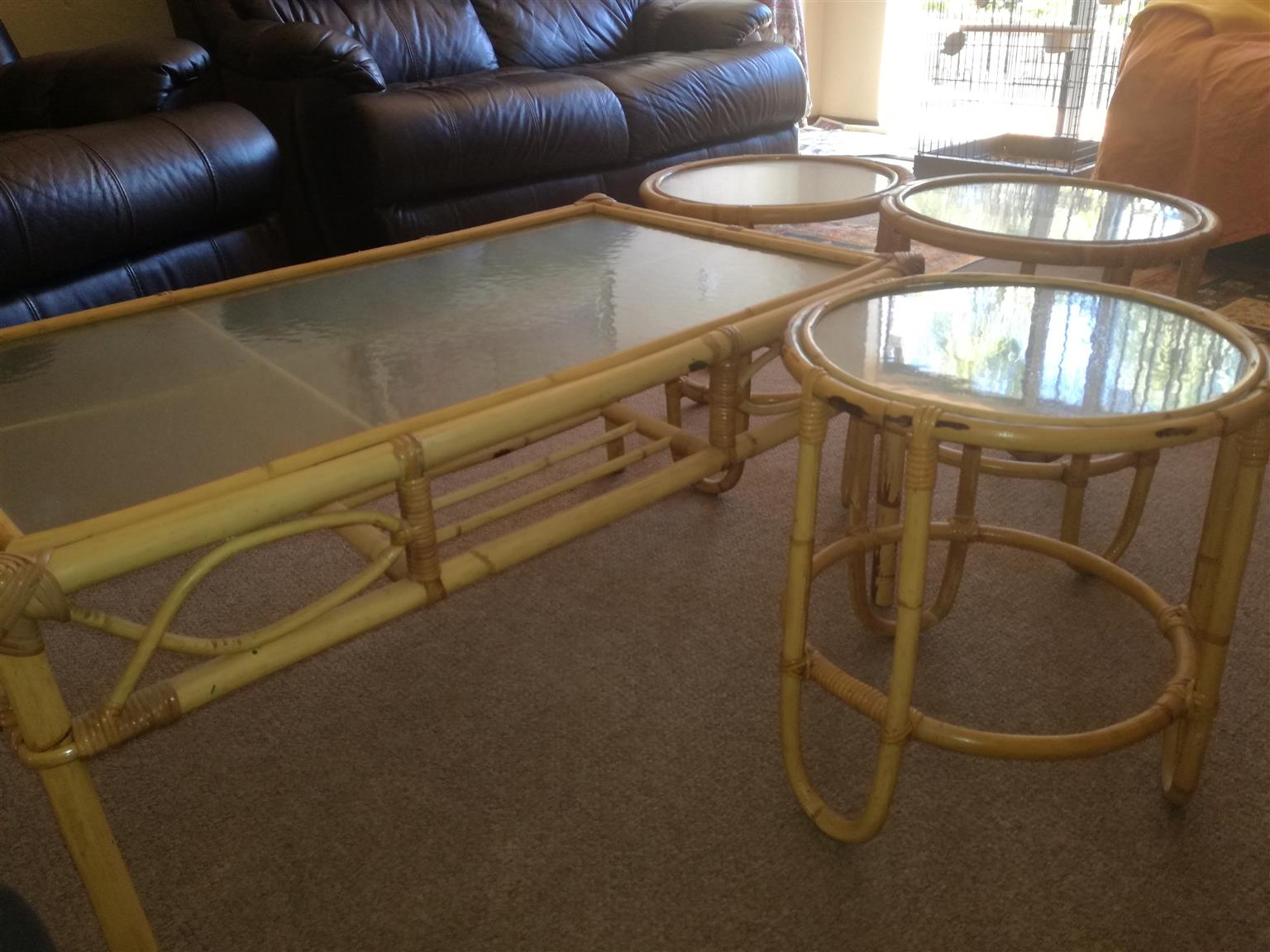 TABLE (CANE) WITH 3 SIDE TABLES