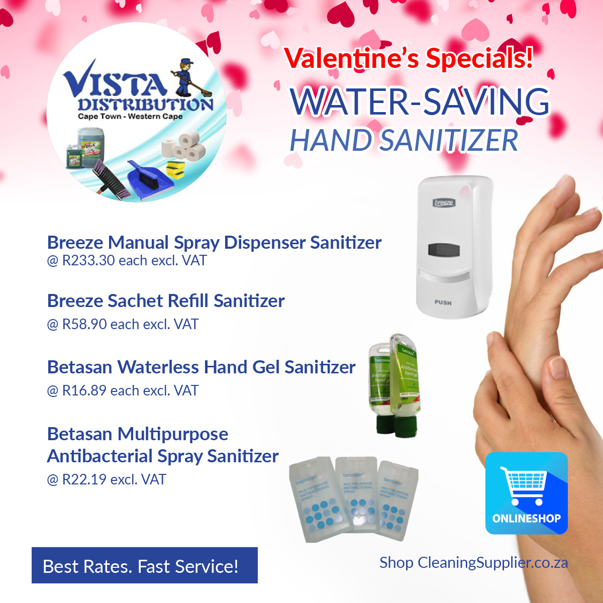 SAVE WATER! Water-less solutions- hand sanitizers, wet wipes, no-flush toilet chemicals and more!