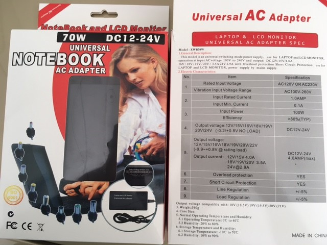 Universal Laptop Charger - New