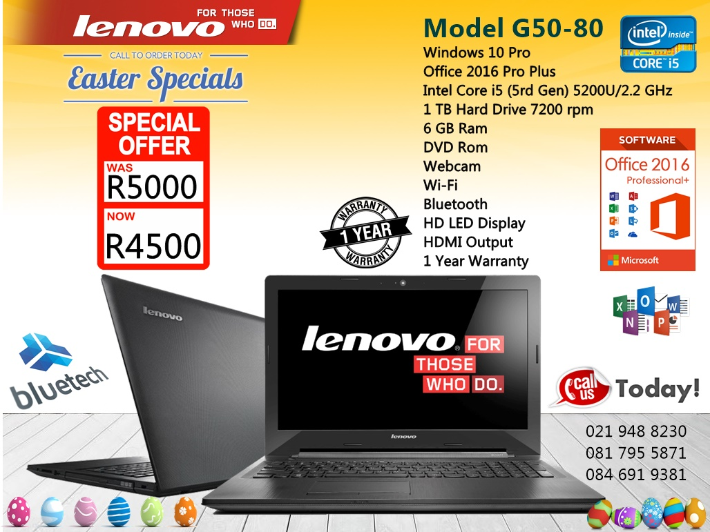 Demo LENOVO G50-80 - Core i5 LAPTOP, 6GB Ram, 1TB HHD , Bluetech 021 948 8230