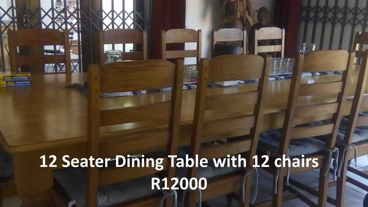 12 Seater dining table with chairs
