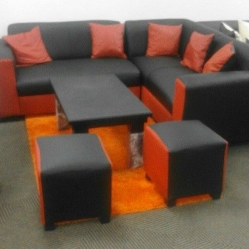 Black and red corner couch