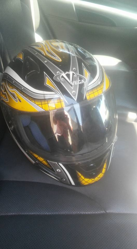 Two bike helmets