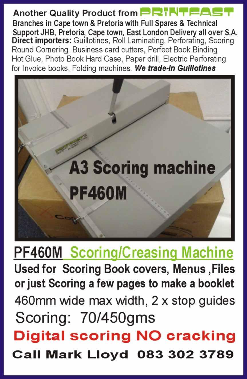 Scoringcreasing machine a3 pf460m scores 70450gms made for scoringcreasing machine a3 pf460m scores 70450gms made for digital printed work colourmoves