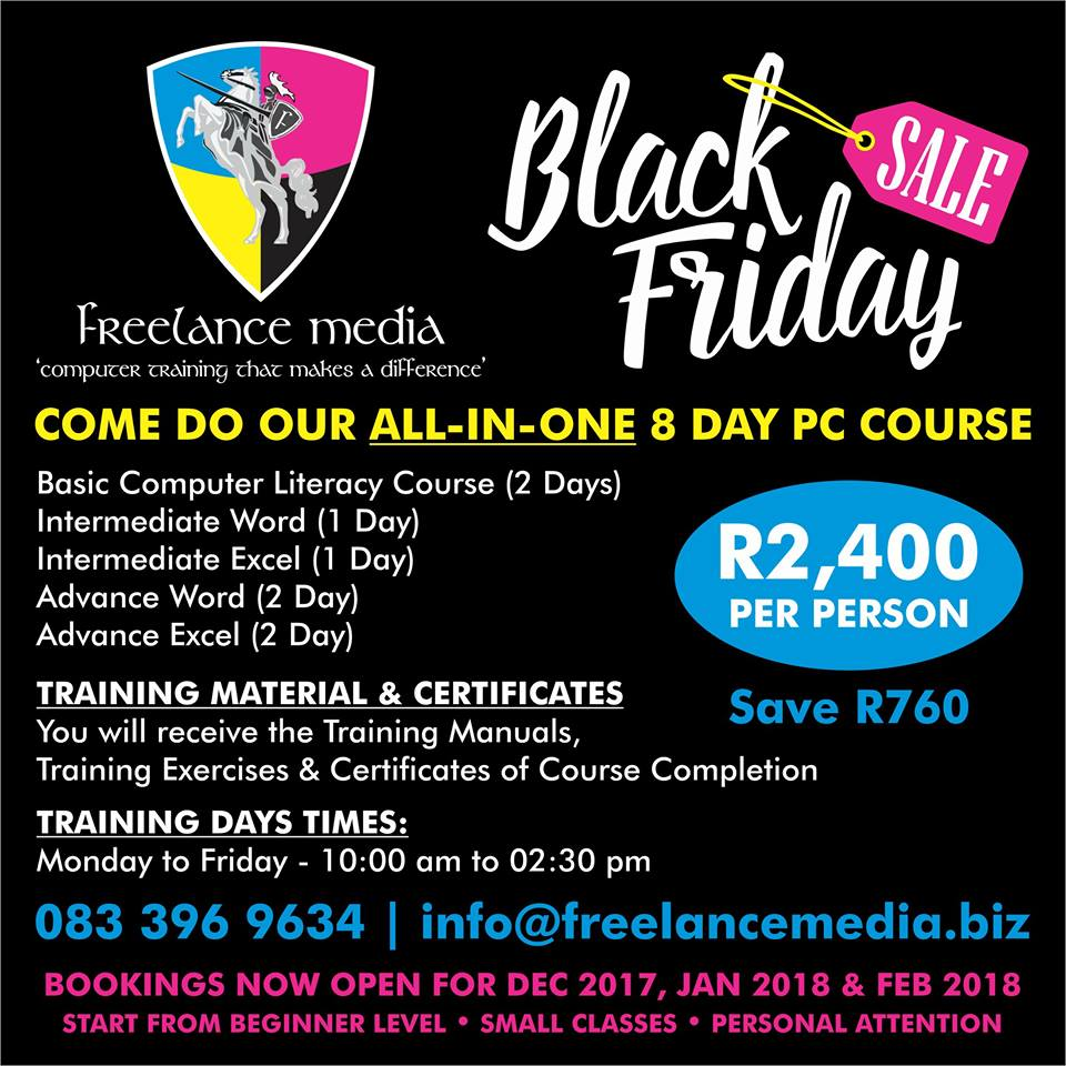 COME DO OUR ALL-IN-ONE 8 DAY PC COURSE @ R2,400 PER PERSON - SAVE R760 SPECIAL ENDS 30TH NOV 2017