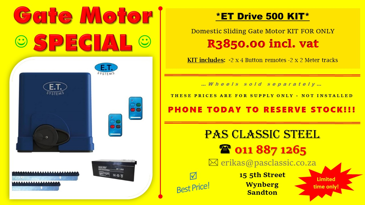 GATE MOTORS! SPECIAL! SPECIAL! SPECIAL! For gates up to 500kg