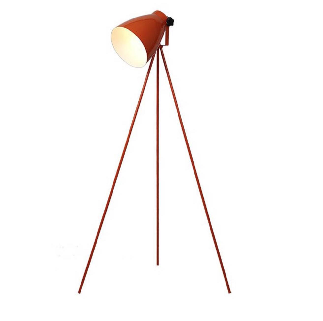 Floor Lamps - Tripod, Orange Baked, Stem Floor Lamps