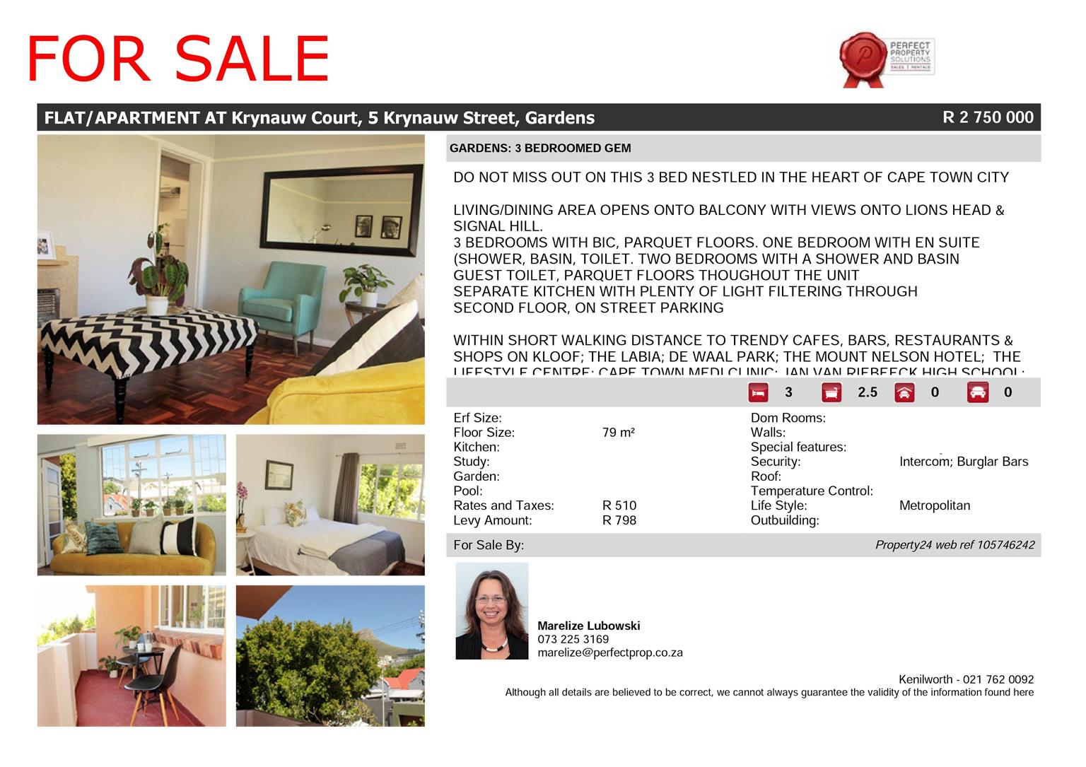 FOR SALE: 3 BED- GARDENS, CAPE TOWN. URBAN LIFESTYLE