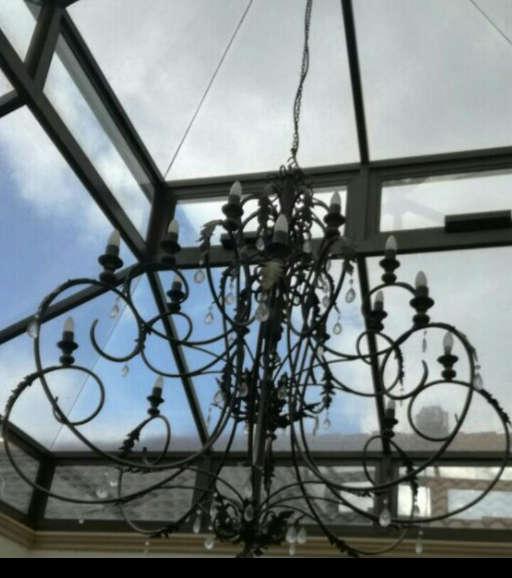 Massive wrought iron chandelier
