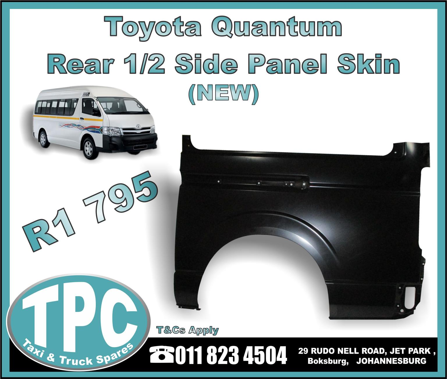 Toyota Quantum Rear 1/2 Side Panel Skin - New And Used Quality Replacement Taxi Spare Parts - TPC