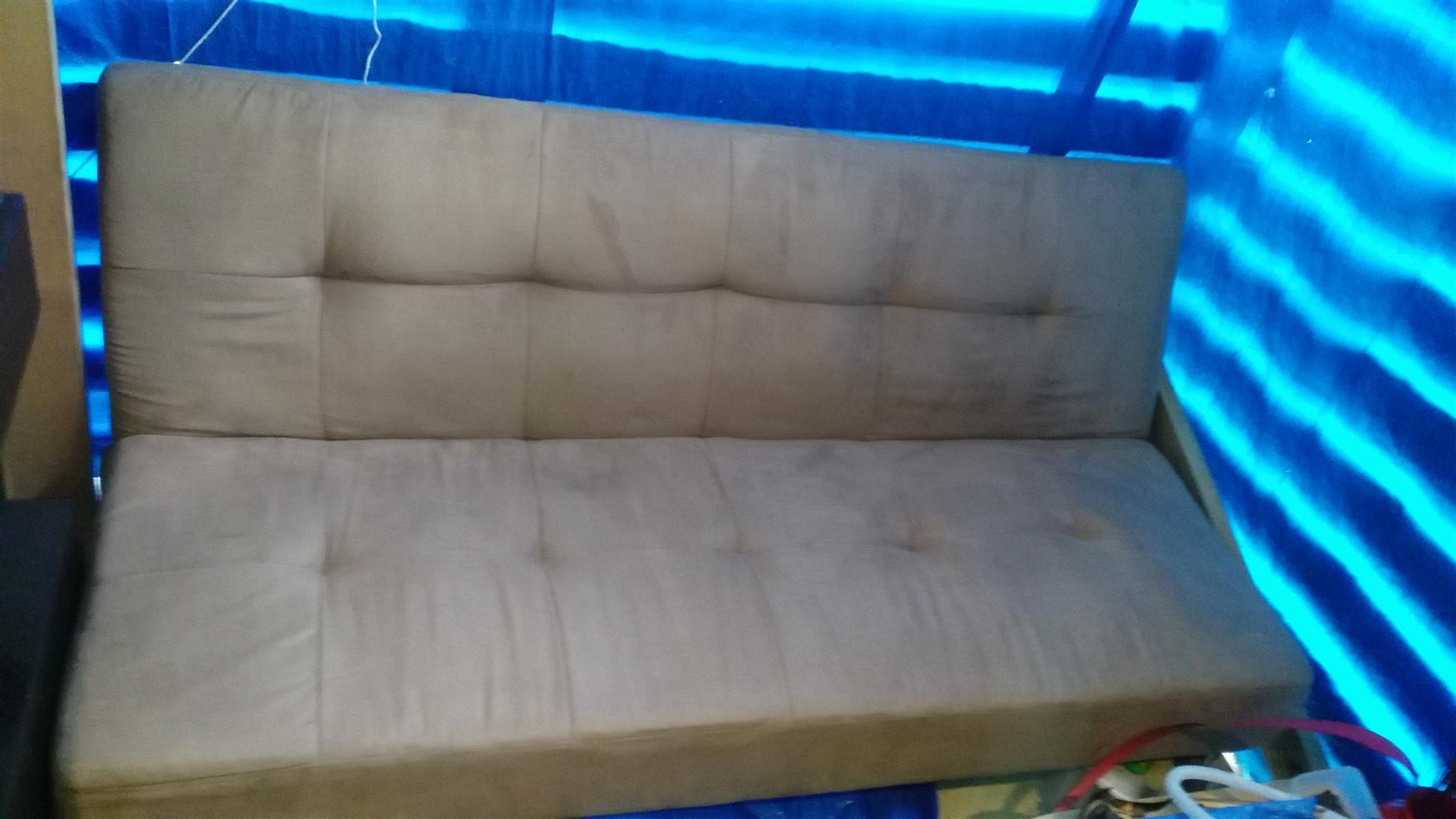 Sleeper couch and French doors