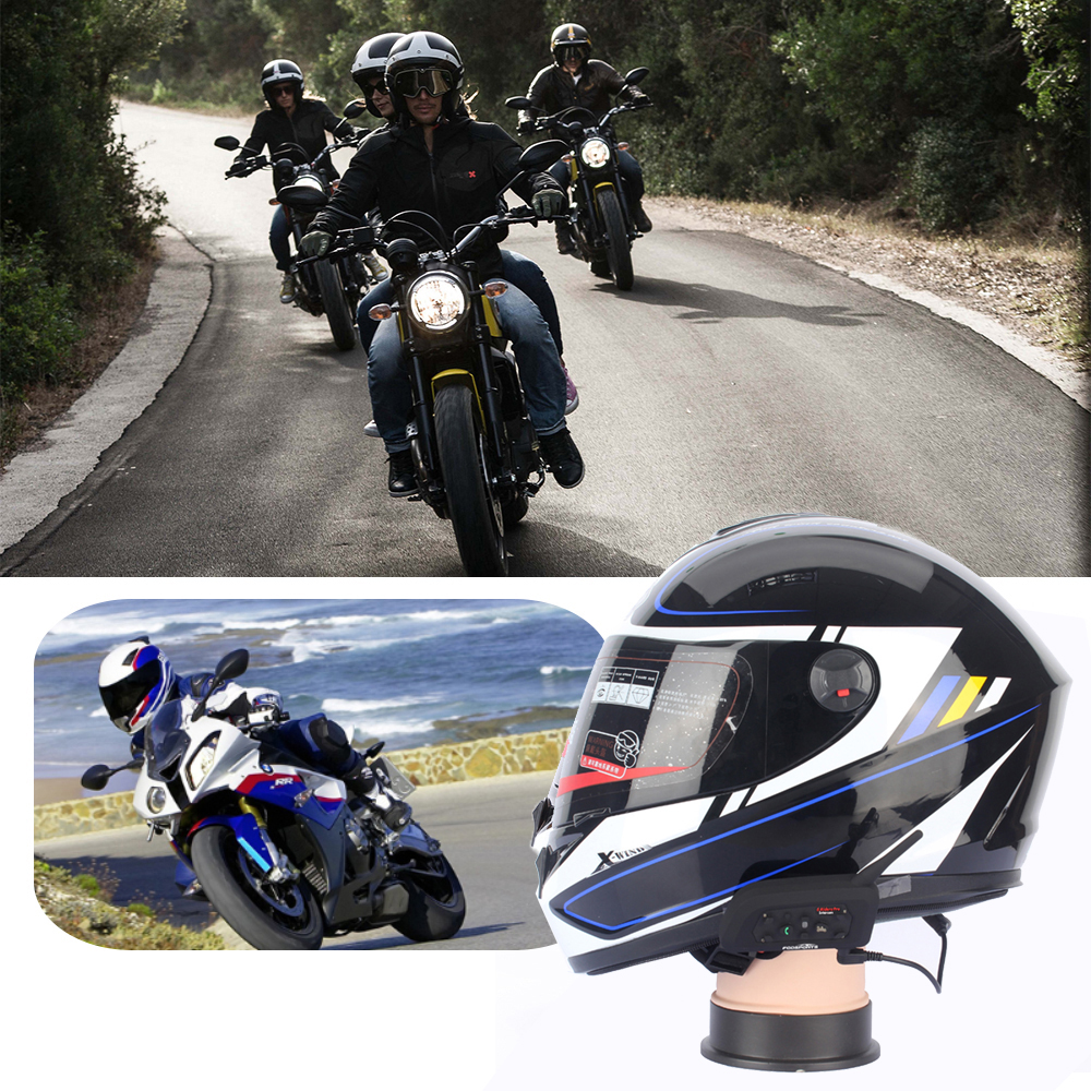 Motorcycle Helmet Bluetooth Headset Intercom Riders 1200M Wireless Interphone