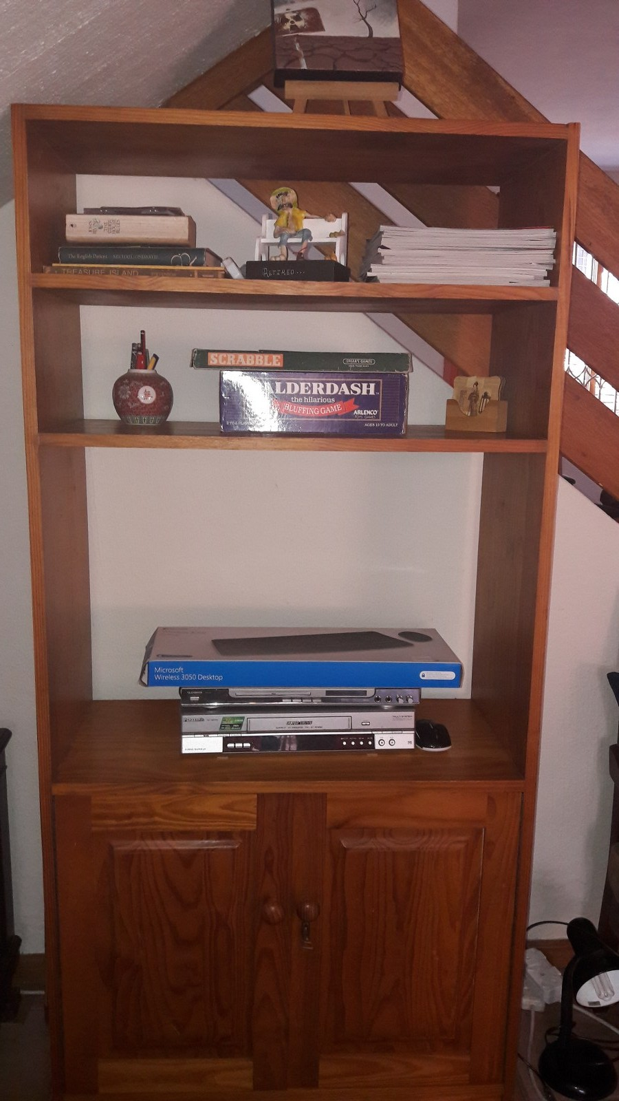 Wooden Cupboard:  bookshelf, entertainment unit,  locked cabinet