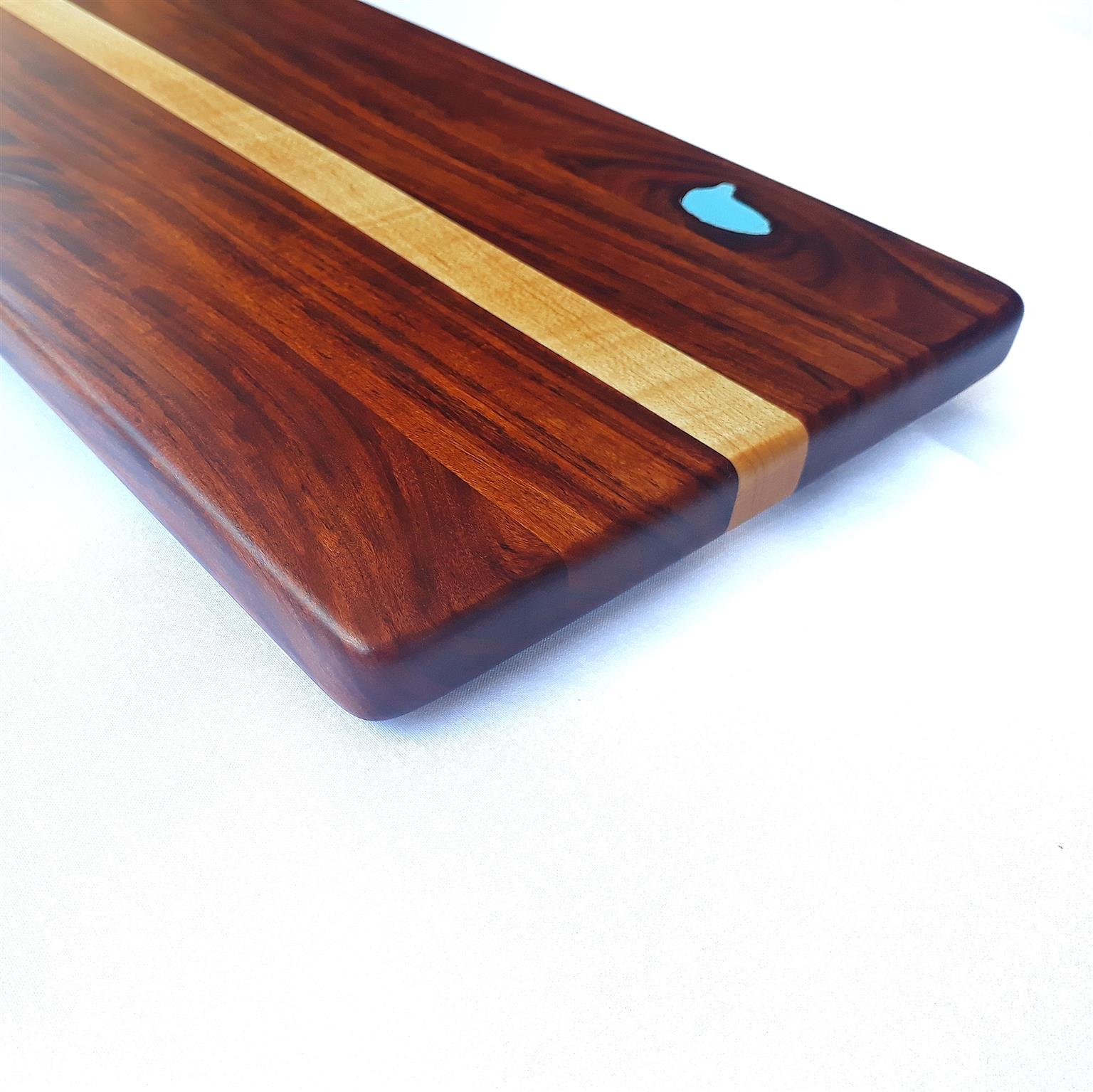 Rhodesian Teak & Maple Charcuterie Board (490mm L x 200mm W x 20mm H)
