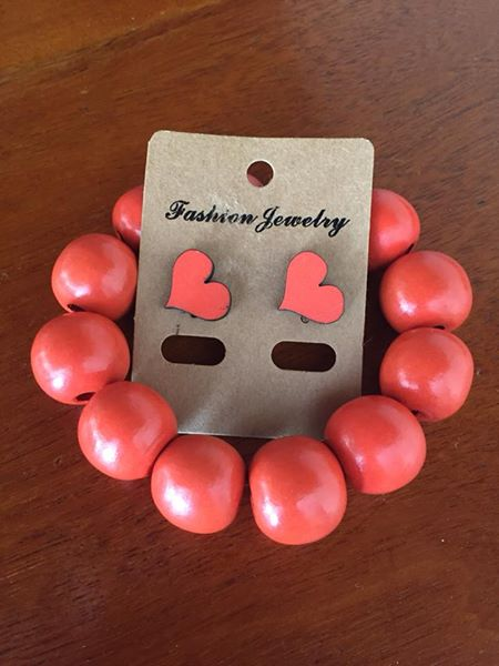 Orange earring and bracelet set