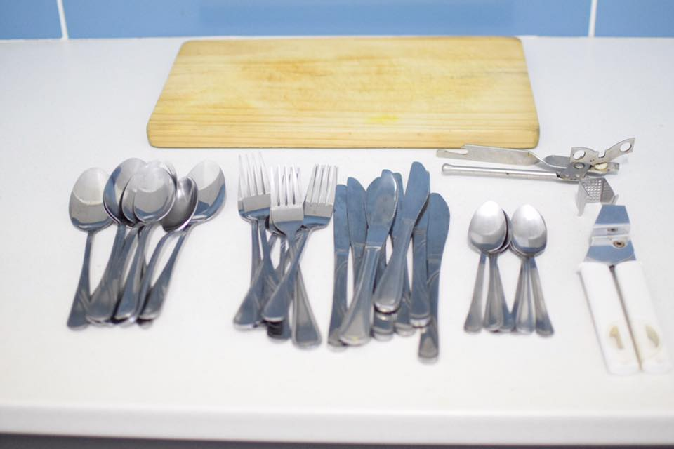 Cutlery set and chopping board