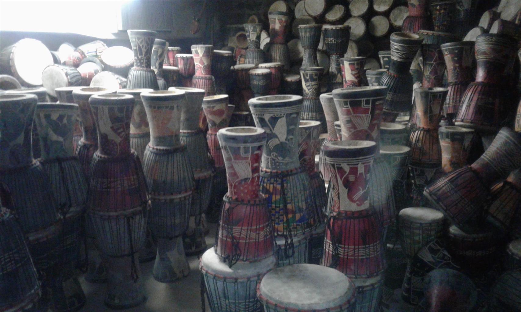 Djembe drums, dundun sets, marimbas